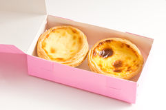 Two of egg tart in paper box Royalty Free Stock Photography
