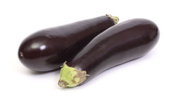 Two eggplant. Isolated on white Royalty Free Stock Photos