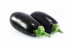Two eggplants. On a white background royalty free stock images