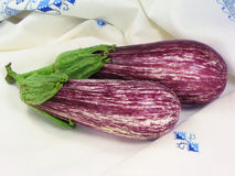 Two eggplants. Two eggplant with embroidered tablecloth Stock Photography