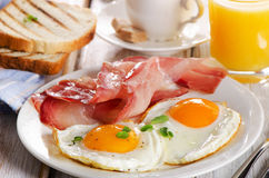Two  eggs and bacon for healthy breakfast Royalty Free Stock Image