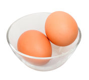 Two eggs in the bowl Royalty Free Stock Photography