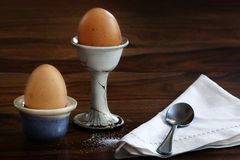 Two eggs for breakfast on a dark table Stock Photo
