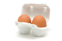 Two eggs in carton Stock Photo