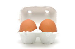 Two eggs in carton Stock Image