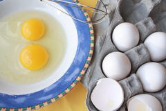 Two eggs and carton Royalty Free Stock Image