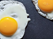 Two eggs cooking in a frying pan Royalty Free Stock Photography