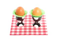 Two eggs in dotted eggshells Stock Photo