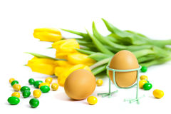 Two eggs with flowers Royalty Free Stock Photos