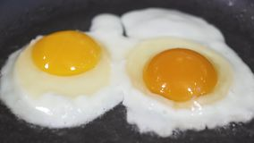 Two eggs are fried in a frying pan in oil