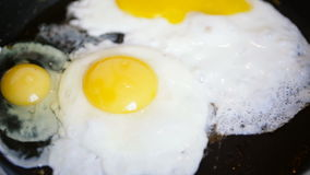 Two eggs fried in a pan added to them another. stock video