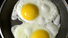 Two eggs fried in a pan. Time lapse. Zoom. The rotation of the camera. Top view.