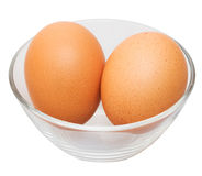 Two eggs in glass bowl Stock Images
