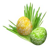 Two eggs in grass (yellow-green). Easter eggs in grass on white stock photography