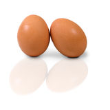 Two eggs isolate on white background Stock Images