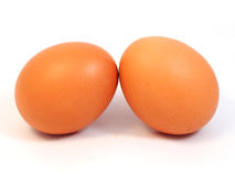 Two eggs isolated on white background Royalty Free Stock Photography