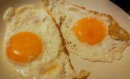 Two eggs on plate orange color Royalty Free Stock Photo
