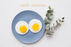 Two beautiful eggs on a plate Stock Image