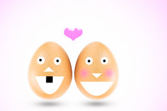 Two eggs are representative of boy and girl in love mood Royalty Free Stock Image