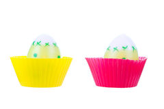 Two eggs in silicon forms Royalty Free Stock Photos