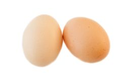Two eggs. In white background Royalty Free Stock Image
