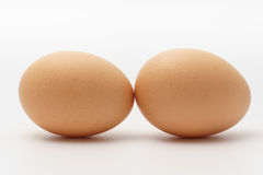 Two eggs on a white background.  Royalty Free Stock Photography