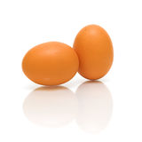 Two eggs on a white background closeup Stock Images