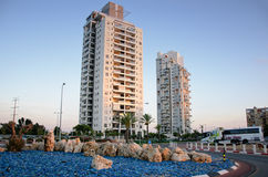 Two eighteen storey residential houses. Rishon Le Zion, Israel - August 6, 2013:  Two eighteen storey residential houses in Golda Meir Street numbers 14 and 16 Stock Photos