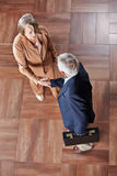 Two elderly business people giving handshake Stock Image