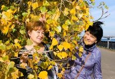 Two elderly cheerful girlfriends joke on autumn walk stock photography