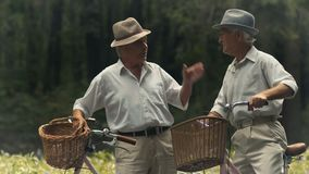 Two elderly friends with bicycles are talking in the park. Senior sporty couple of men stand with their bicycles in the park. Pleasant elderly men wearing hats stock footage