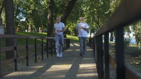 Two elderly friends jogging morning park together, healthy lifestyle, activity. Stock footage stock footage