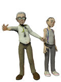 Two elderly gentlemen on white backgound Royalty Free Stock Image