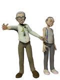 Two elderly gentlemen on white backgound Royalty Free Stock Image
