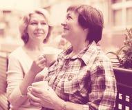 Two elderly housewives enjoying tea at terrace Stock Photo