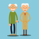 Two elderly man. Two elderly men standing together and smiling. Illustration in flat style Stock Photo
