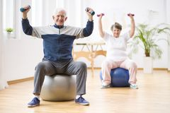Two elderly people holding weights and sitting on exercising balls royalty free stock images