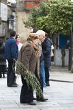 Two elderly walk, holding an olive branch royalty free stock image