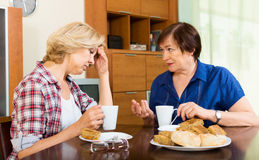 Two elderly woman with cup of tea discussing something Stock Photography