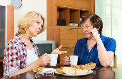 Two elderly woman with cup of tea talking Stock Photos