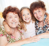 Two Elderly woman with great-grandchild Royalty Free Stock Photo
