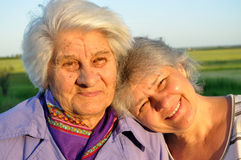 Two elderly women Royalty Free Stock Photo