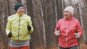 Two elderly woman in autumn park have modern healthy training - nordic walking. Two elderly women in autumn park have modern healthy training - nordic walking royalty free stock photography
