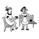 Two elderly women gossiping and drinking tea on a bench comic  illustration Royalty Free Stock Image