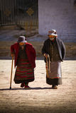 Two Elderly Women of The Palkhor Monastery Gyantse Tibet Royalty Free Stock Images