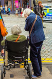 Two elderly women in the street Royalty Free Stock Image