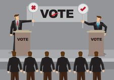 Candidates in Debate for Election Vector Illustration. Two election candidates standing behind podium and holding cross and tick symbol signs in front of royalty free illustration