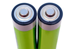 Two electric batteries on a white background. Stock Photo
