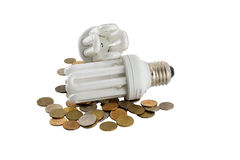 Two electric energy-saving light bulbs Stock Image