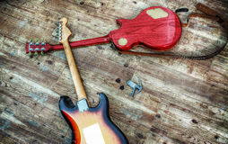 Two electric guitars in hdr Royalty Free Stock Image